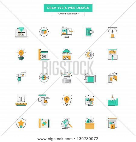 Set of Modern Flat Line icon Concept of Creativity Design Web Design Development and Art use in Web Project and Applications. Vector Illustration