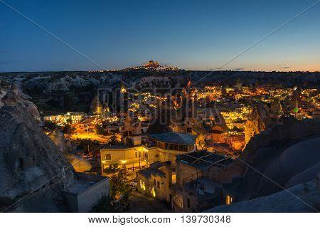 Goreme town in the night in Cappadocia Central AnatoliaTurkey