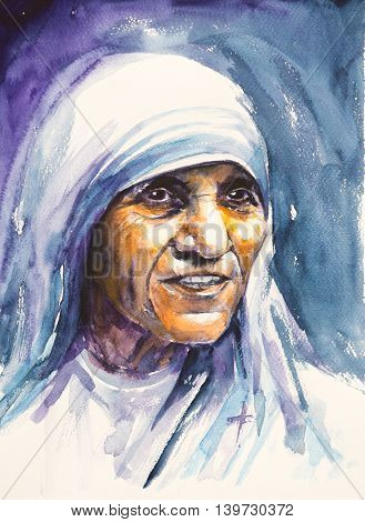 26 July 2016; Portrait of Mother Teresa also known as Blessed Teresa of Calcutta.Mother Teresa was an Albanian Roman Catholic nun and missionary.Picture created with watercolors.