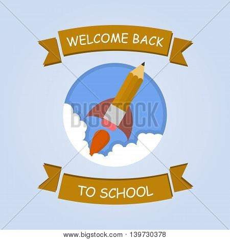 Rocket ship launch made with pencil. Vector colorful background with graduation concept in flat style for education. Back to school image.