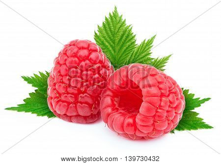 Two ripe raspberries with green leves isolated on white background with clipping path