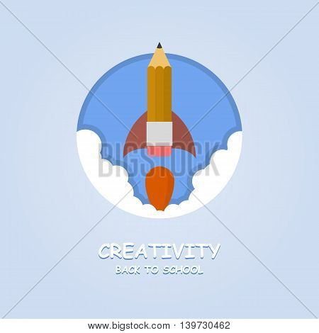Rocket ship launch made with pencil. Vector colorful background with graduation concept in flat style for education. Back to school image. Creativity learning.