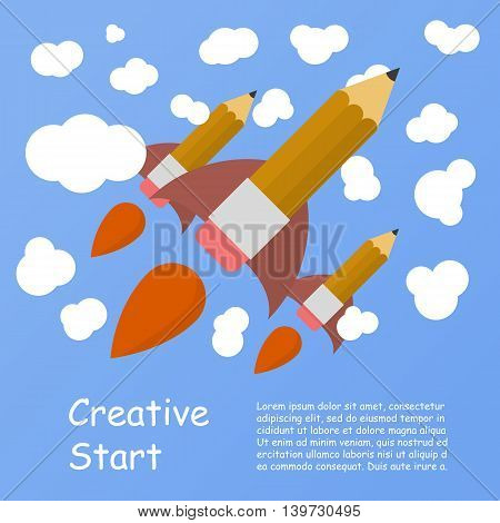Rocket ship launch made with pencil. Vector colorful background with graduation concept in flat style for education. Back to school image. Creative start.