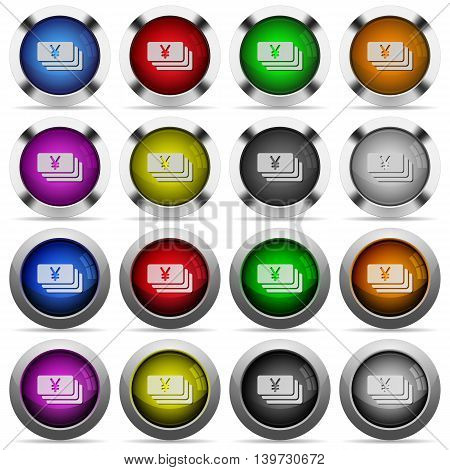 Set of Yen banknotes glossy web buttons. Arranged layer structure.