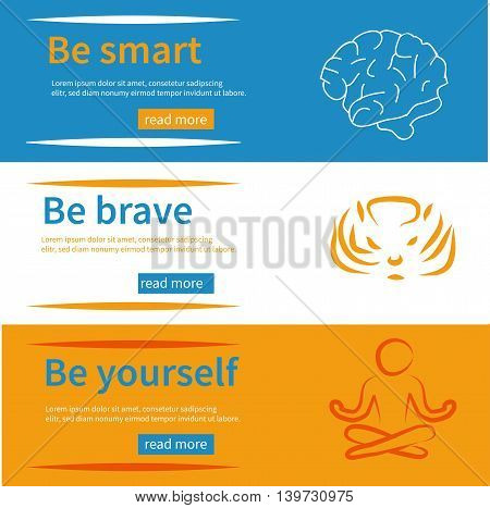 Horizontal banners set with texts be yourself be brave be smart symbols and frame