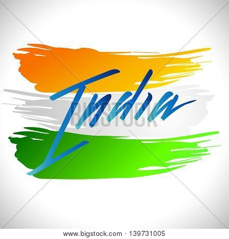 Vector illustration for the India Independence Day. Greeting card for celebration of India Independence Day with yellow green white National Indian Flag on a background with lettering India in blue
