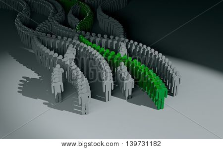 Different people. Green crowd. 3d illustration