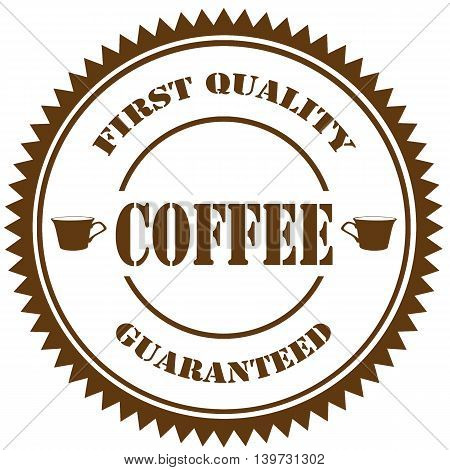 Stamp with text Coffee-First Quality Guaranteed,vector illustration