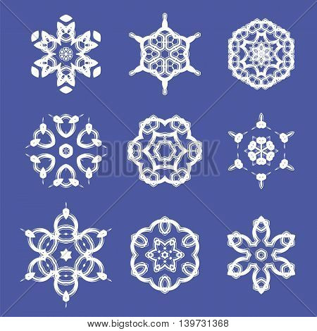 Set of Different  Ornamental Rosettes Isolated on Blue Background