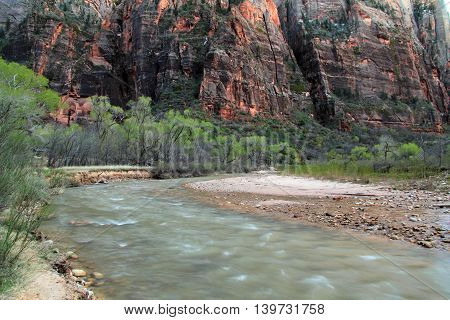 North Fork of the Virgin River in the Big Bend section of Zion National Park, Utah