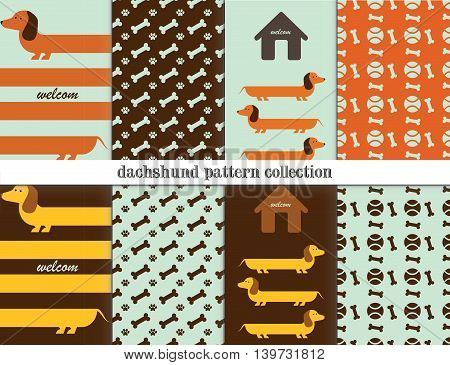 vector greeting card Dachshund dogs seamless pattern