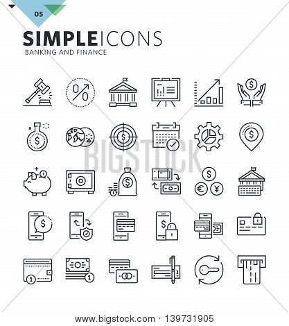 Modern thin line icons of banking. Premium quality outline symbol collection for web and graphic design, mobile app. Mono linear pictograms, infographics and web elements pack.