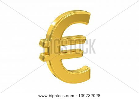 euro symbol 3D rendering isolated on white background