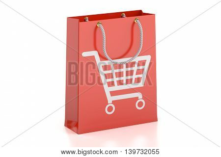 Shopping bag 3D rendering isolated on white background