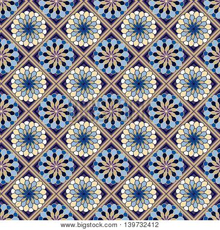 Geometric Seamless Pattern With Flowers