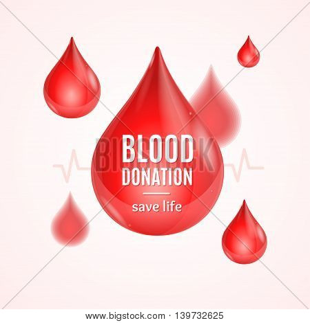 Blood Donation Concept with Drop Shape. Poster or Flyer. Vector illustration