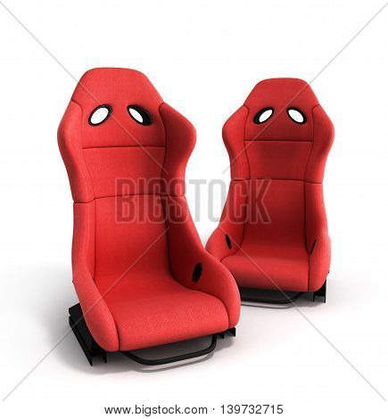 Sporty Red Automobile Armchairs 3D Illustration On A White Background