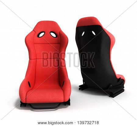 Sporty Red Automobile Armchairs 3D Render On A White Background