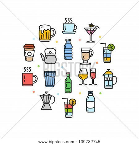 Drink Round Design Template Thin Line Icon Set Isolated on White Background. Vector illustration