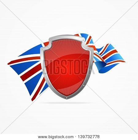 Greate Britain Flag and Shield Isolated on White Background. Symbol Of Patriotism. Vector illustration