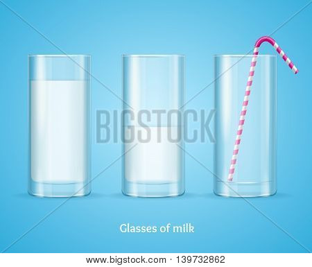 Milk Glass Concept on Blue Background for Card or Poster. Vector illustration