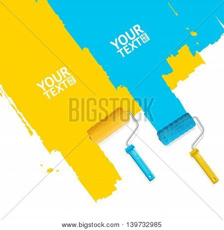 Roller Brush Painting Banner For Your Business. Blue and Yellow Stripes. Vector illustration