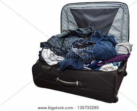 Isolated image of a basdly packed suitcase