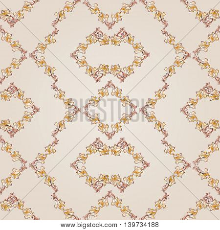 Seamless floral patterns of brown henna on beige background