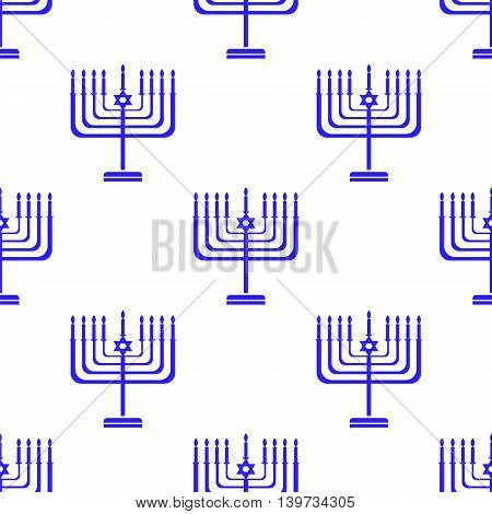 Silhouettes of Menorah Seamless Pattern. Jewish Symbol of Religion