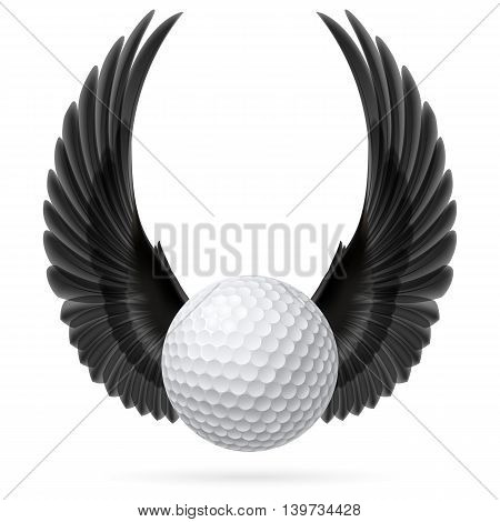 Golf ball with raised up black wings
