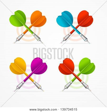 Color Darts Set Isolated on White Background. Vector illustration