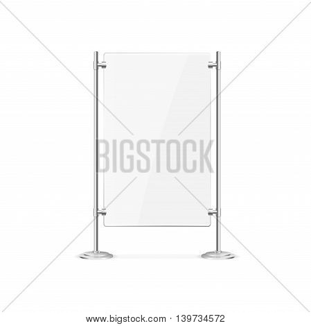Glass Screen Banner. Empty Display for Your Business. Vector illustration