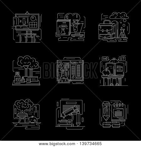 Lessons in chemistry laboratory, chemical experiments for school. Science and education concept. Set of detailed flat white line vector icons on black background. Web design elements.