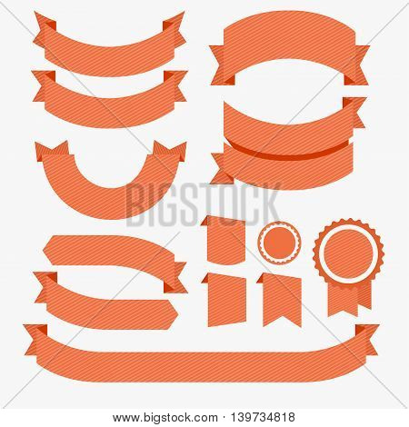 Ribbons Flat Design Set Red Isolated on White Background. Vector illustration