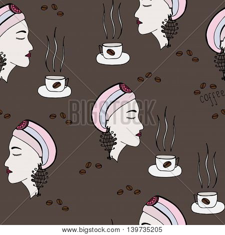 Seamless with girl which smells the aroma of coffee on the brown background