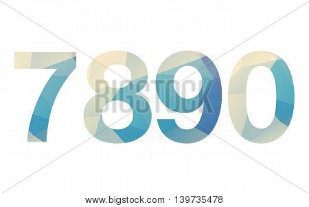 Polygonal isolated bold gradient numbers on white