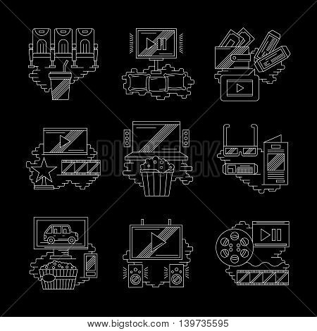 Contemporary movie technology, modern cinema. Equipment and accessories for watching film. Set of detailed flat white line vector icons on black background. Web design elements.