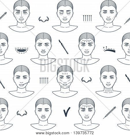 Seamless pattern of plastic surgery face with line icons. Flat design. Vector illustration