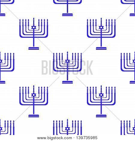 Silhouettes of Menorah Seamless Pattern. Jewish Symbol of Religion
