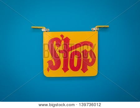 Bright Cheerful Indian Style Red And Yellow Stop Sign