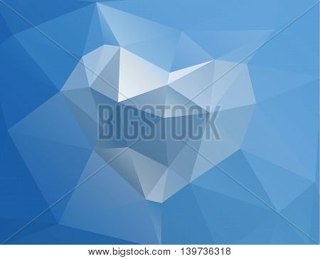 Polygonal modern horizontal colorful background with heart