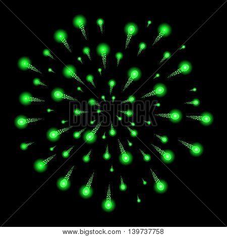 Green Fireworks Isolated On Black Background. Vector Illustration