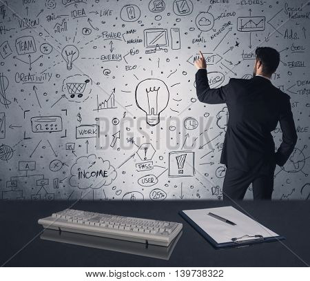 An intelligent office worker drawing strategy ideas and future plan keywords on wall at a brainstorming meeting in office concept