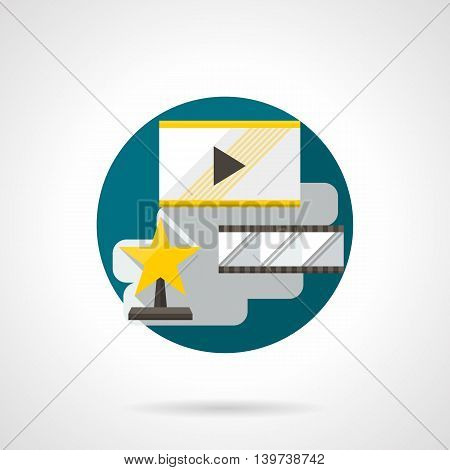 Abstract illustration for cinema premiere. Film rating, star award or celebrities. Watching quality movies. Round detailed flat color style vector icon.