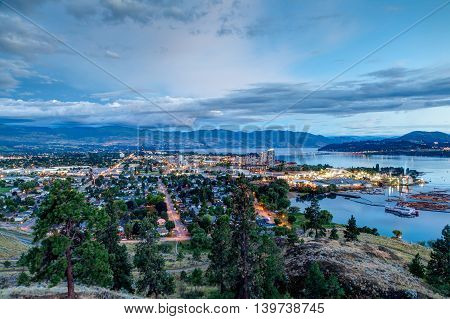 Aerial View Of Kelowna Skyline At Night