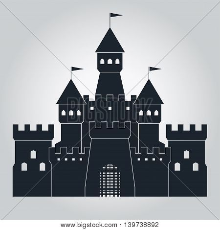 Medieval castle icon, antique royal citadel silhouette with flags, vector logo template