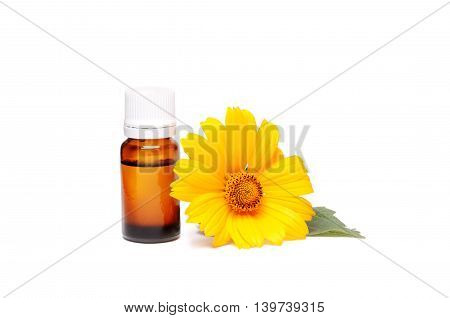 Dark cosmetic bottle of aromatic oil for herbal medicine with calendula flower isolated on white background. Marigold extract.