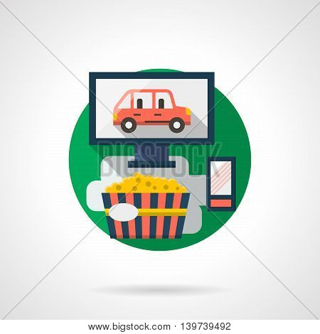 Abstract illustration of exciting movie. Monitor with red car. Eating popcorn while watching film at home. Cinema entertainment theme. Round detailed flat color style vector icon.