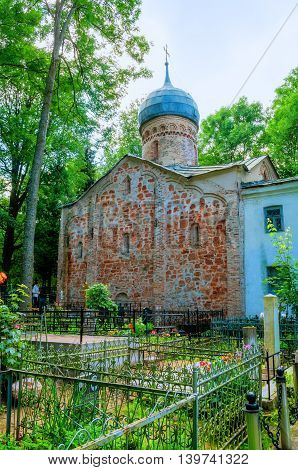 VELIKY NOVGOROD RUSSIA - JULY 22 2016. Church of the Nativity at Red Field situated at the Nativity cemetery in Veliky Novgorod Russia