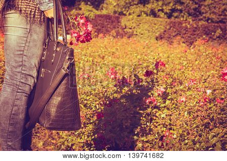 Woman Spends Time In Park Outdoor.
